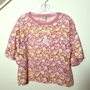 Zara W/B Collection Floral Lace Top NWT